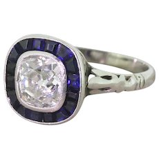 Art Deco 1.50 Carat Old Cushion Cut & Sapphire Engagement Ring, circa 1920