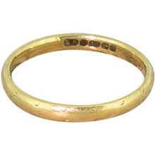 Mid Century 18k Yellow Gold Wedding Band, dated 1955