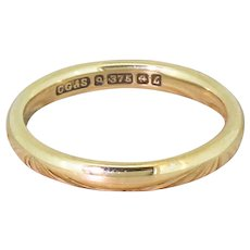 Mid Century 9k Yellow Gold Wedding Band, dated 1960