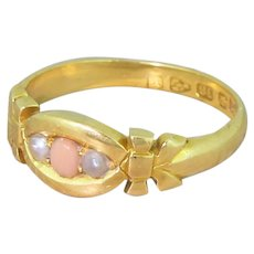 Victorian Coral & Seed Pearl Trilogy Ring, dated 1880
