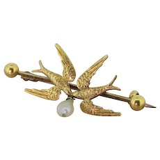 "Victorian Natural Pearl ""Love Birds"" Pin Brooch, dated 1888"