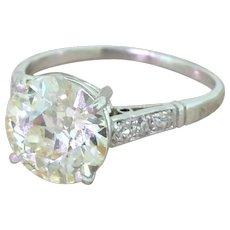 Art Deco 3.06 Carat Old Cut Diamond Engagement Ring, circa 1930