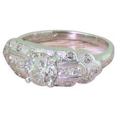 GRANAT BROS. 0.97 Carat Old Cut Diamond Ring, American, circa 1940
