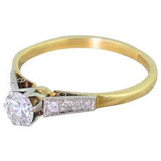 Art Deco 0.40 Carat Transitional Cut Diamond Engagement Ring, circa 1940
