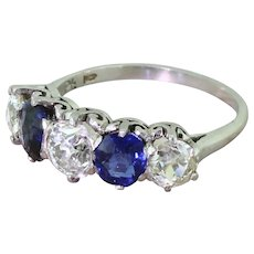Art Deco 1.25 Carat Old Cut Diamond & Sapphire Five Stone Ring, circa 1925