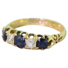 Victorian Sapphire & Old Cut Diamond Five Stone Ring, dated 1893