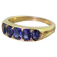Edwardian 1.70 Carat Natural Sapphire Five Stone Ring, circa 1910