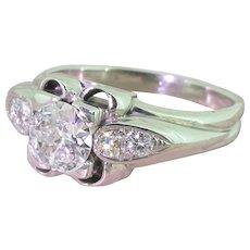 Retro 0.90 Carat Old European Cut Diamond Engagement Ring, circa 1950