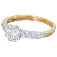 Edwardian 0.99 Carat Old Cut Diamond Engagement Ring, circa 1905