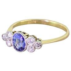 Art Deco 0.65 Carat Sapphire & Eight-Cut Diamond Ring, circa 1930