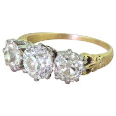 Art Deco 2.59 Carat Old Cut Diamond Trilogy Ring, circa 1915