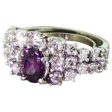 Avant Garde Purple Sapphire & Rose Cut Diamond Ring, circa 1965