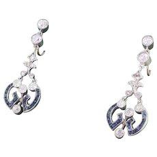 Victorian Sapphire & Old Cut Diamond Drop Earrings, circa 1870