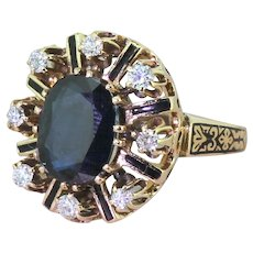 Art Deco 3.50 Carat Sapphire & Diamond Enamelled Ring, circa 1920