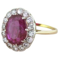 Mid Century 4.23 Carat Natural Ruby & Diamond Cluster Ring, circa 1955