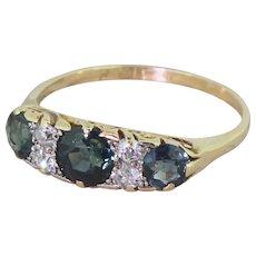 Edwardian 1.00 Carat Sapphire & Diamond Trilogy Ring, circa 1910