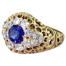 Edwardian Sapphire & Old Cut Diamond Filigree Cluster Ring, circa 1905