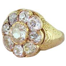 Victorian 3.50 Carat Old Cut Diamond Cluster Ring, circa 1880
