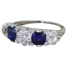 Early 20th Century 1.40 Carat Old Cut Diamond & Sapphire Five Stone Ring, circa 1930
