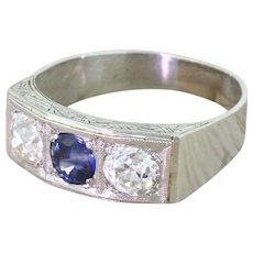 Retro Sapphire & Old Cut Diamond Trilogy Ring, circa 1945