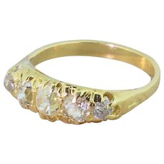Victorian 1.10 Carat Old Cut Diamond Five Stone Ring, circa 1880