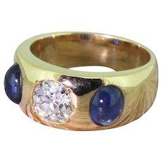 Victorian 0.90 Carat Old Cut Diamond & Cabochon Sapphire Trilogy Ring, circa 1900