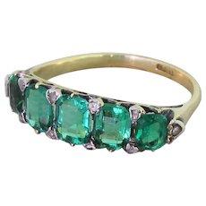 Victorian 2.25 Carat Doublet Emerald Five Stone Ring, circa 1900