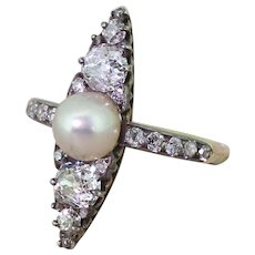 Victorian Natural Pearl & Old Cut Diamond Navette Ring, circa 1870