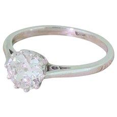 Art Deco 0.85 Carat Old Cut Diamond Engagement Ring, circa 1930