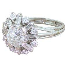 Mid Century 2.55 Carat Old Cut, Round Brilliant & Baguette Cut Diamond Cluster Ring, circa 1965