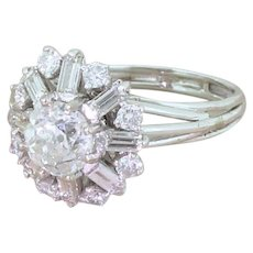 Mid Century 2.55 Carat Old Cut, Round Brilliant & Baguette Cut Diamond Cluster Ring, circa 1965