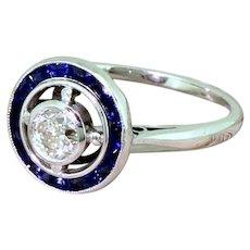 Art Deco 0.42 Carat Old Cut Diamond & Sapphire Target Ring, French, circa 1935