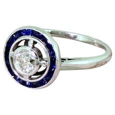Art Deco 0.42 Carat Old Cut Diamond & Sapphire Target Ring, French, circa 1935