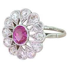 Art Deco 1.00 Carat Pink Sapphire & Old Cut Diamond Cluster Ring, circa 1940