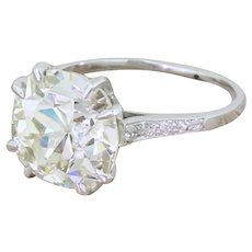 Art Deco 4.81 Carat Old Cushion Cut Diamond Engagement Ring, French, circa 1920