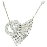 Art Deco 6.30 Carat Transitional Cut & Baguette Cut Diamond Pendant, circa 1940