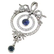 Edwardian Sapphire & Diamond Pendant, circa 1910