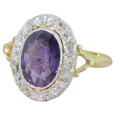 Edwardian 2.25 Carat Purple Sapphire & Old Cut Diamond Cluster Ring, circa 1905