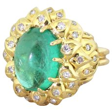 Retro 6.00 Carat Cabochon Colombian Emerald & Diamond Ring, circa 1945