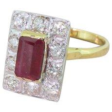 Late 20th Century 1.50 Carat Emerald Cut Ruby & Diamond Ring, circa 1975