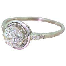 Art Deco 1.68 Carat Old Cut Diamond Engagement Ring, circa 1940