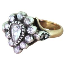 Georgian Inspired 0.50 Carat Rose Cut Diamond Pear Cluster Ring