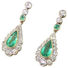 Mid Century 2.97 Carat Emerald & Old Cut Diamond Pear Drop Earrings, circa 1950