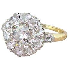 Art Deco 1.35 Carat Old Cut & Rose Cut Diamond Cluster Ring, circa 1920
