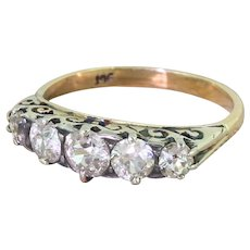 Victorian 1.10 Carat Old Cut Diamond Five Stone Ring, circa 1900
