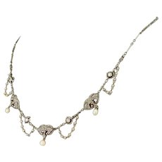 Early 20th Century Natural Pearl & Diamond Platinum Necklace, French, circa 1915