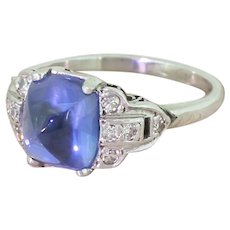 Art Deco 3.94 Carat Natural Sugarloaf Sapphire Ring, circa 1920
