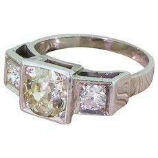Mid Century 1.66 Carat Old Cut Diamond Trilogy Ring, circa 1955