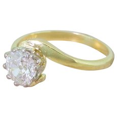 Late 20th Century 0.98 Carat Old Cut Diamond Crossover Ring, dated 1989