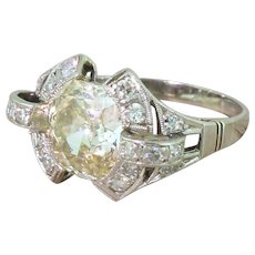 Retro 2.83 Carat Old Cushion Cut Diamond Solitaire Ring, circa 1950